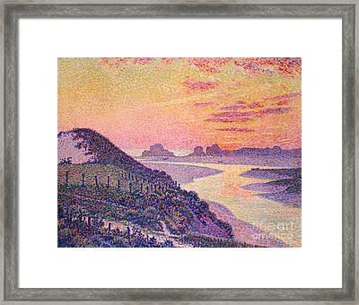 Sunset At Ambleteuse Pas-de-calais Framed Print by Theo van Rysselberghe