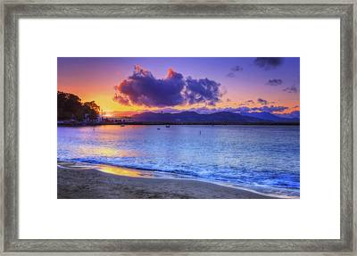Sunset At Aquatic Park Cove - San Francisco California Framed Print by Jennifer Rondinelli Reilly