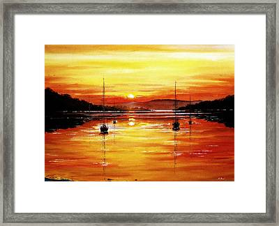 Sunset At Bala Lake Framed Print by Andrew Read