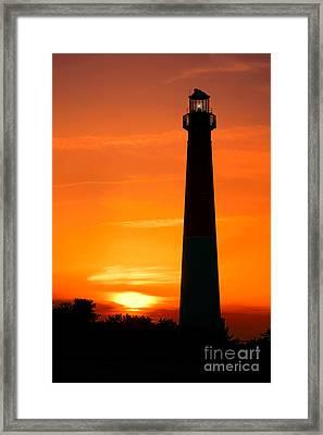 Sunset At Barnegat Lighthouse Framed Print by Olivier Le Queinec