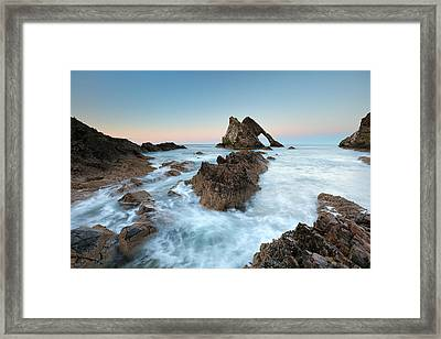 Sunset At Bow Fiddle Rock Framed Print by Grant Glendinning