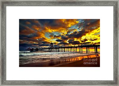 Sunset At Huntington Beach Pier Framed Print by Peter Dang