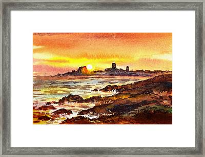 Sunset At Lighthouse Piedras Blancas  Framed Print by Irina Sztukowski