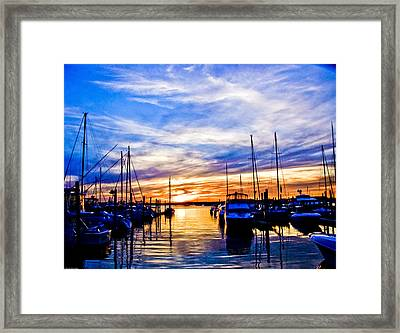 Sunset At Newport Framed Print by Ches Black