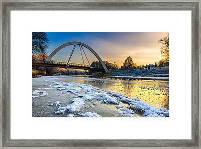 Sunset At Riverside Framed Print by Mario Mesi