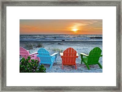 Sunset At The Beach Framed Print by Dan Leffel