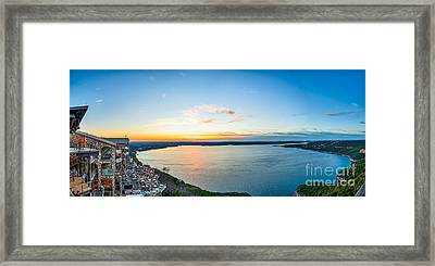 Sunset At The Oasis Pano Framed Print by Tod and Cynthia Grubbs