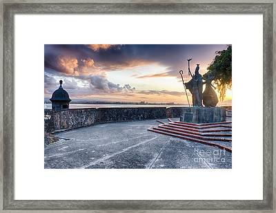 Sunset At  The Plaza Of The Religious Procession Framed Print by George Oze