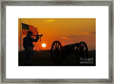 Sunset Battlefield Taps Framed Print by Randy Steele