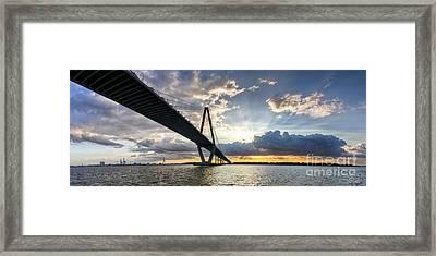 Sunset Behind Arthur Ravenel Jr Bridge Charleston South Carolina Framed Print by Dustin K Ryan
