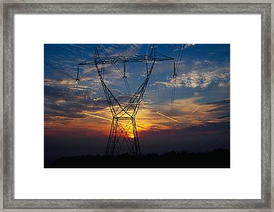 Sunset Behind High Tension Power Lines Framed Print by Panoramic Images