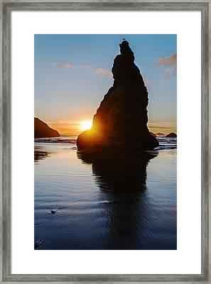 Sunset Behind Wizards Hat Bandon Oregon Framed Print by Vishwanath Bhat