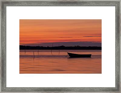 Sunset Boat Framed Print by Gert Lavsen