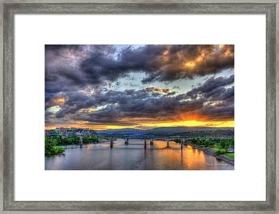 Sunset Bridges Of Chattanooga Walnut Street Market Street Framed Print by Reid Callaway