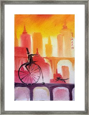 Sunset City Cycle Framed Print by Jason Etienne