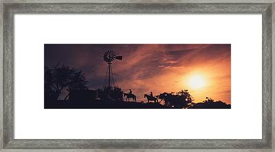 Sunset, Cowboys, Texas, Usa Framed Print by Panoramic Images