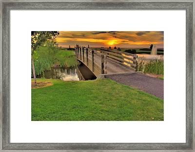 Sunset Foot Bridge Framed Print by Dale Stillman