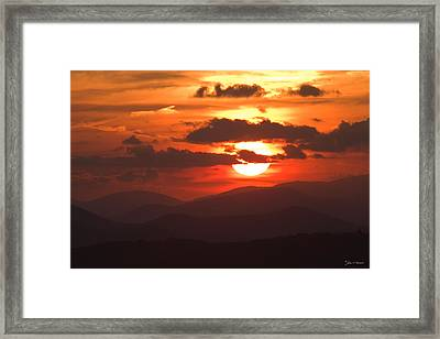 Sunset From The Blue Ridge Parkway Framed Print by John Harmon