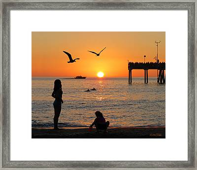 Sunset Fun Framed Print by Marie and Michael Fields