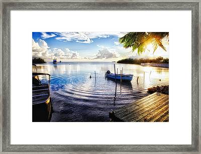 Sunset In A Fishing Village Framed Print by George Oze