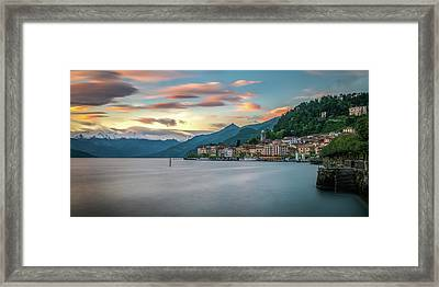 Sunset In Bellagio On Lake Como Framed Print by James Udall