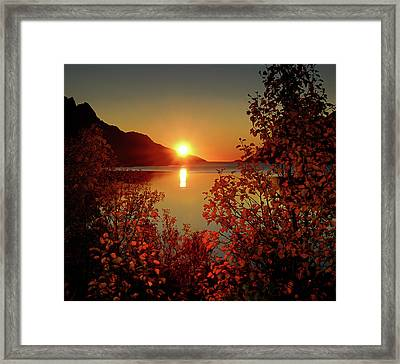 Sunset In Ersfjordbotn Framed Print by John Hemmingsen