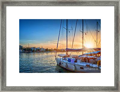 Sunset In Kos Framed Print by Delphimages Photo Creations