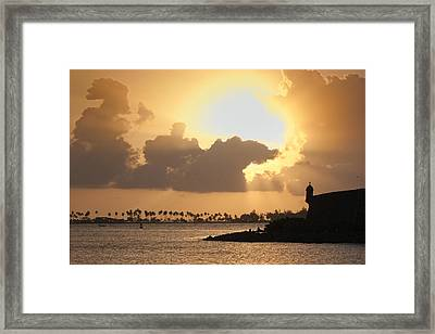 Sunset In San Juan Bay Framed Print by George Oze