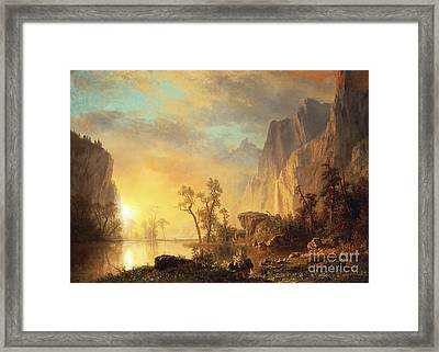 Sunset In The Rockies Framed Print by Albert Bierstadt