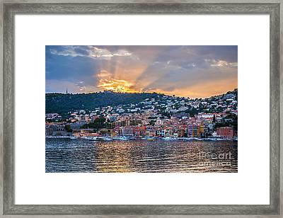 Sunset In Villefranche-sur-mer Framed Print by Elena Elisseeva