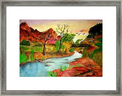 Sunset In Zion Framed Print by Joanna Aud