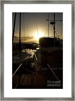 Sunset Lahaina Harbour Maui Marinas Hawaii Framed Print by Sharon Mau