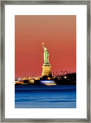 Sunset Liberty Framed Print by Az Jackson