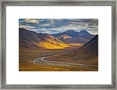 Sunset Lighting Brooks Range Framed Print by Sunny Awazuhara- Reed