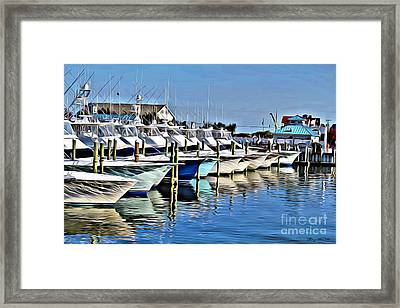 Sunset Marina Framed Print by Carey Chen