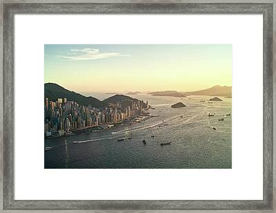 Sunset Of Hong Kong Victoria Harbor Framed Print by Jimmy LL Tsang