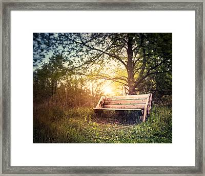 Sunset On A Wooden Bench Framed Print by Scott Norris