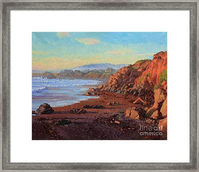 Sunset On Cambria Ca Framed Print by Gary Kim
