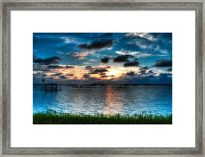 Sunset On Cedar Key Framed Print by Rich Leighton