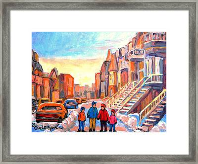Sunset On Hotel De Ville Street Montreal Framed Print by Carole Spandau