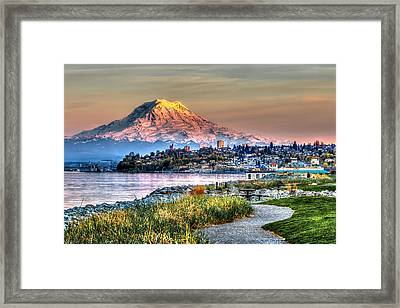 Sunset On Mt Rainier And Point Ruston Framed Print by Rob Green