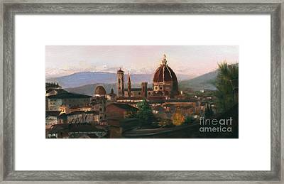 Sunset On The Duomo Framed Print by Leah Wiedemer