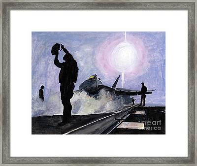 Sunset On The Flight Deck Framed Print by Sarah Howland-Ludwig