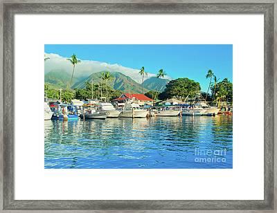 Sunset On The Marina Lahaina Harbour Maui Hawaii Framed Print by Sharon Mau