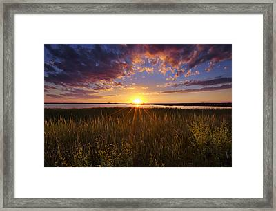 Sunset On The Marsh Framed Print by Joseph Rossbach