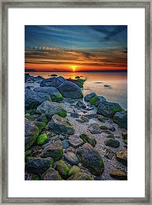 Sunset On The North Shore Of Long Island Framed Print by Rick Berk