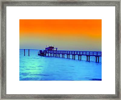 Sunset On The Pier Framed Print by Bill Cannon