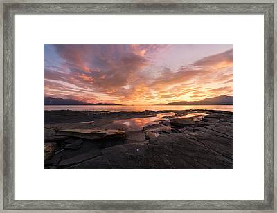 Sunset On The Rocks Framed Print by Tor-Ivar Naess