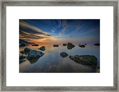 Sunset On The Sound Framed Print by Rick Berk