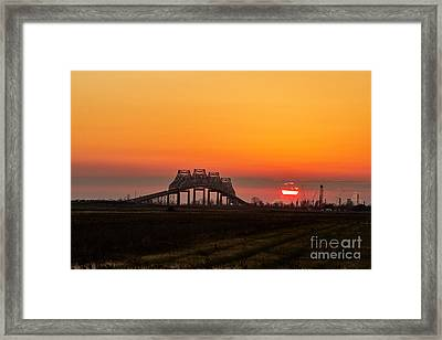 Sunset On The Sunshine Bridge Framed Print by Scott Pellegrin